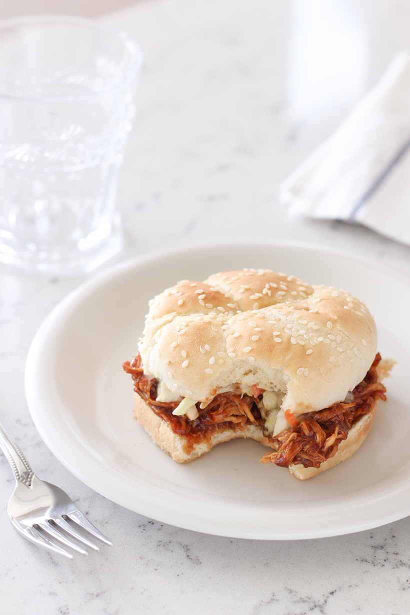 Sweet, tangy barbecue chicken made in the slow cooker is the perfect easy dinner idea