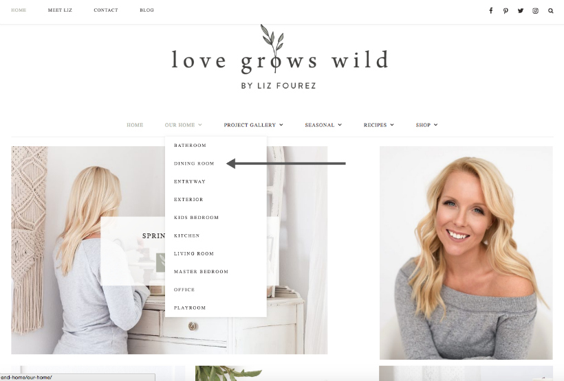 Love Grows Wild menus + navigation