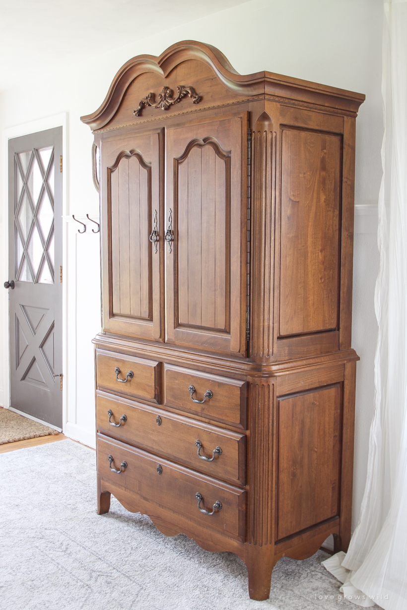 A stunning armoire makeover with chalk paint + the best technique for antiquing  furniture! - Armoire Makeover + How To Antique Furniture - Love Grows Wild
