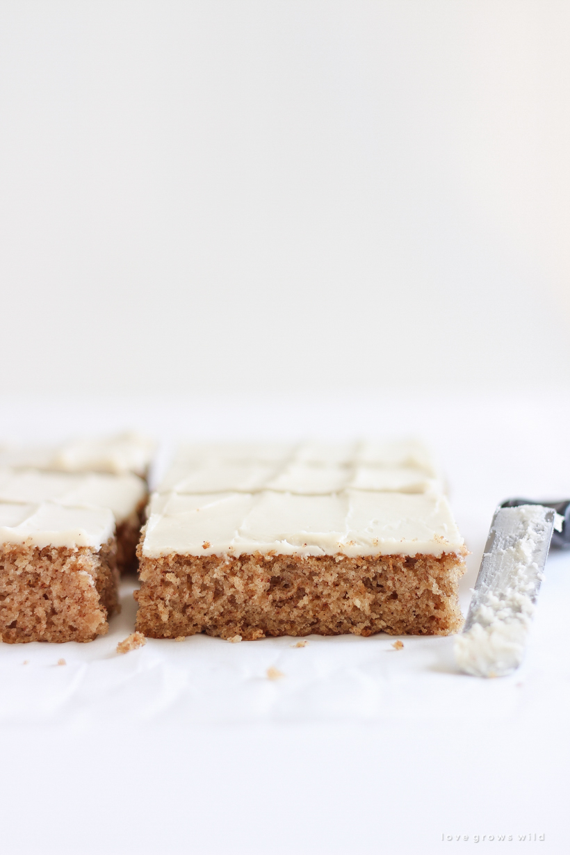 Sweet and simple applesauce sheet cake topped with a rich cream cheese frosting