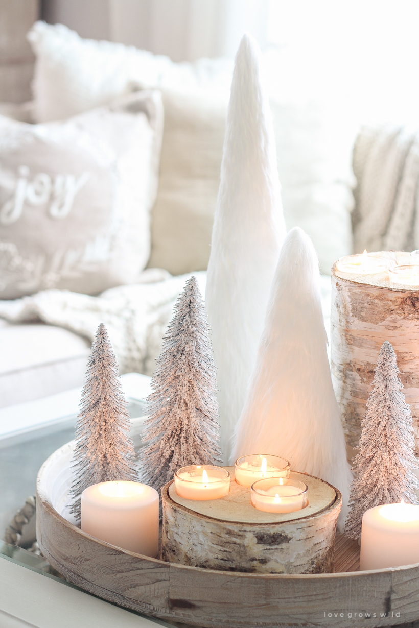 A beautiful neutral, light and bright living room decorated for Christmas