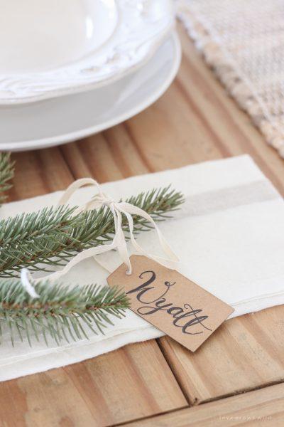 Green & Galvanized Christmas Tablescape