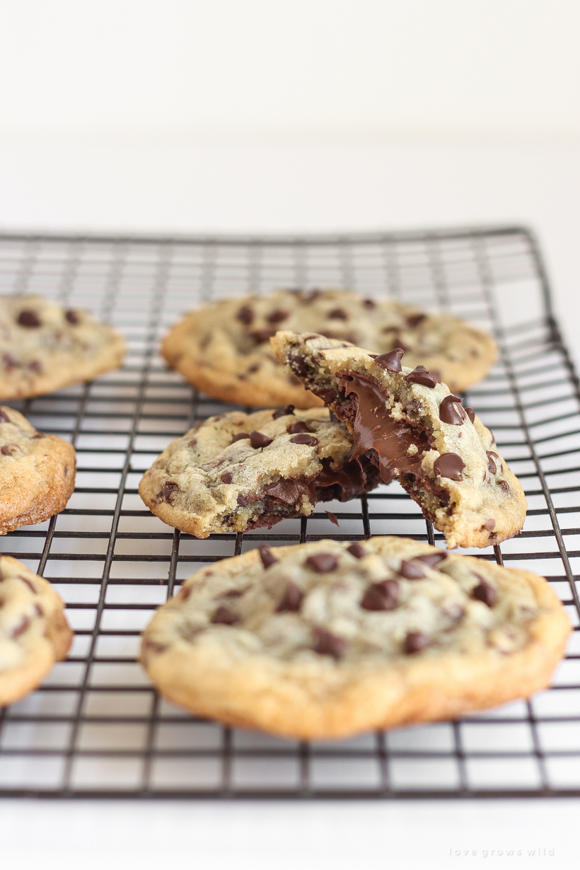 Soft, gooey Nutella stuffed inside the perfect chewy chocolate chip cookie!
