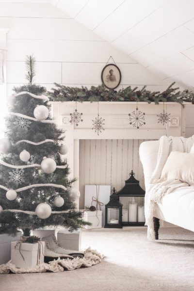 """A simple, cozy bedroom decorated for Christmas with a """"vintage winter wonderland"""" theme"""