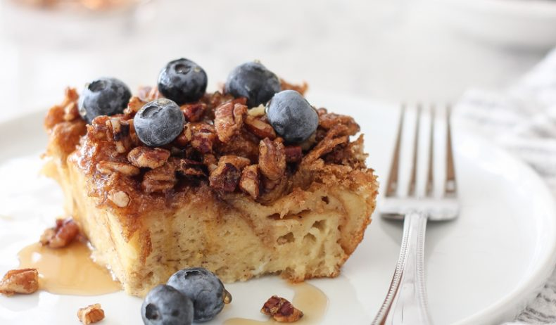 Always a brunch favorite, this Overnight Baked French Toast is perfect for making breakfast for a crowd! Easy and so delicious!