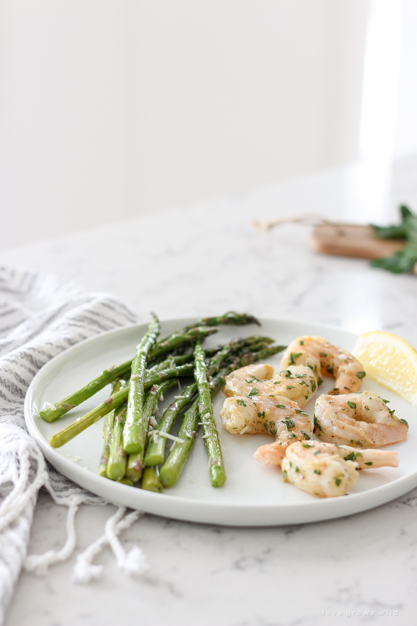Easy one pan dinner idea for Roasted Shrimp and Asparagus that is healthy and ready in under 30 minutes!