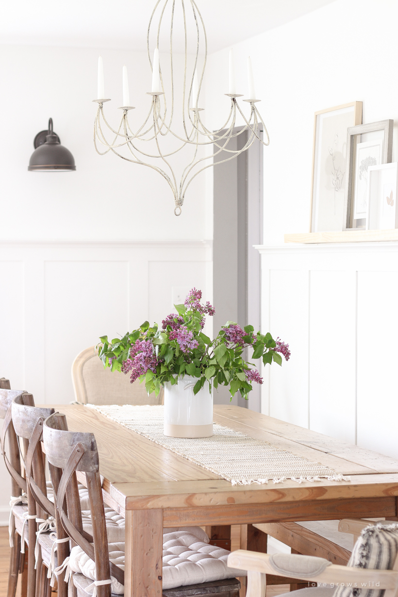 Home and lifestyle blogger Liz Fourez shares simple spring decorating inspiration with fresh lilacs picked from her yard