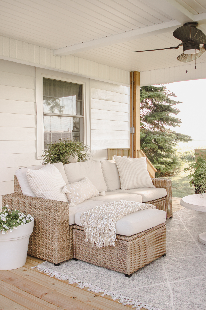 Interior blogger Liz Fourez adds a beautiful large deck and gazebo to her home that is just as cozy and stylish as the inside of her gorgeous farmhouse. Come take a peek of this stunning new outdoor space.