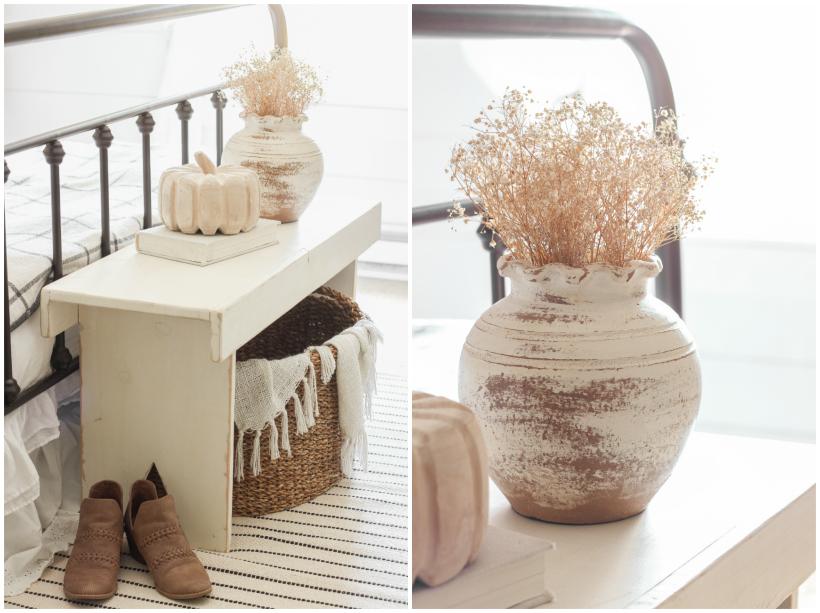 Home and lifestyle blogger Liz Fourez decorates a beautiful farmhouse bedroom for fall