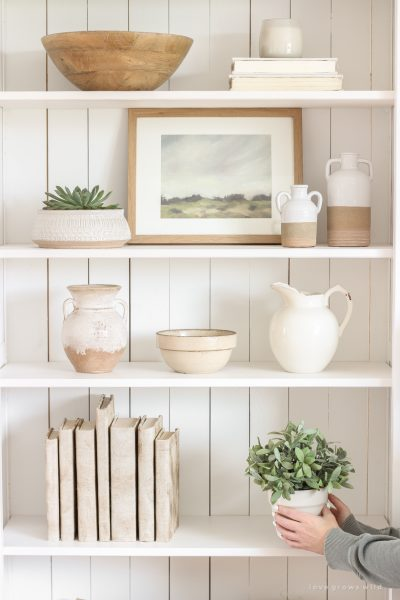 Shelf Styling 101 - Home and lifestyle blogger, Liz Fourez, shares everything you need to know to style shelves anywhere in your home!