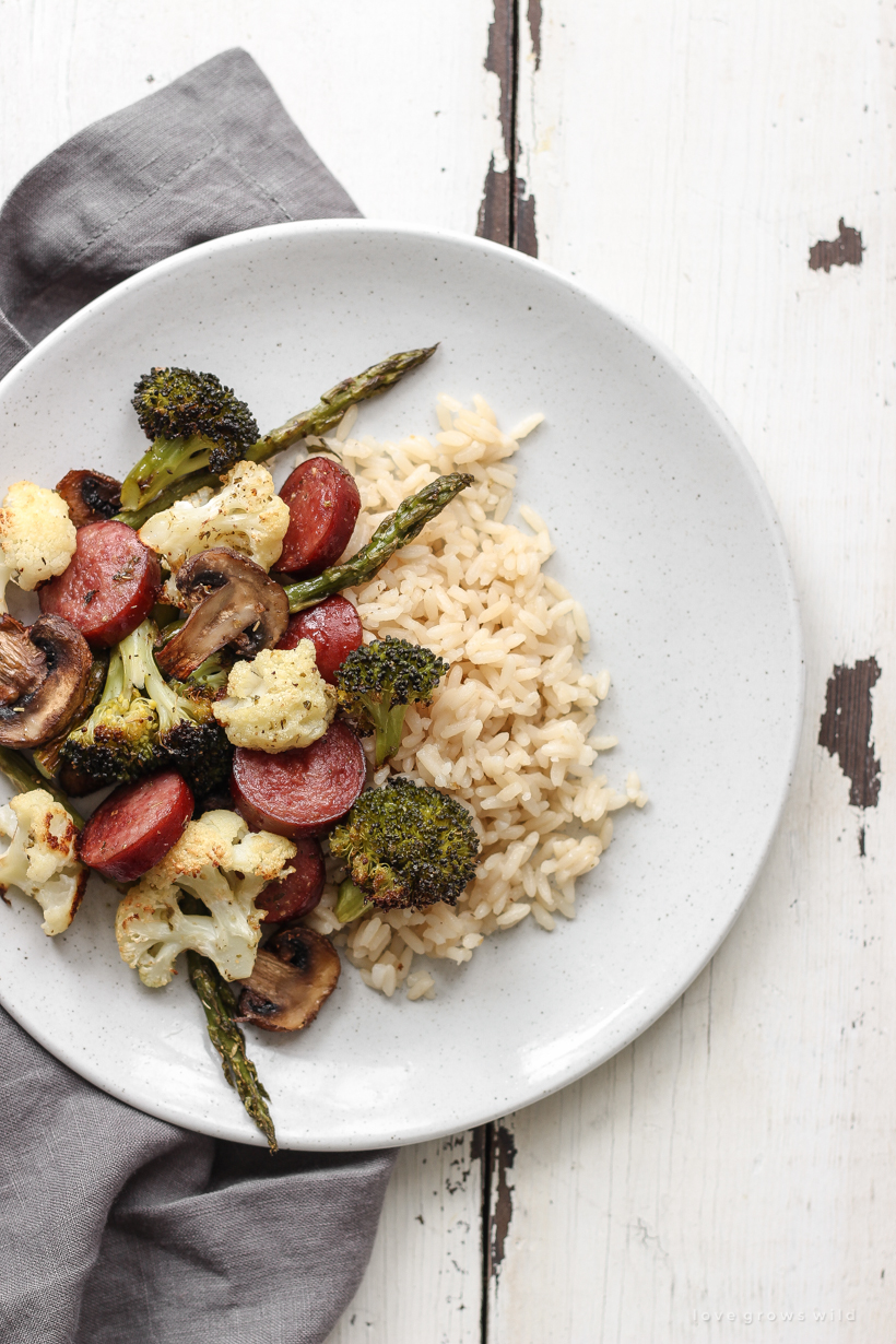Try this One Pan Roasted Sausage and Vegetables recipe for a quick and easy dinner that is healthy and low carb!