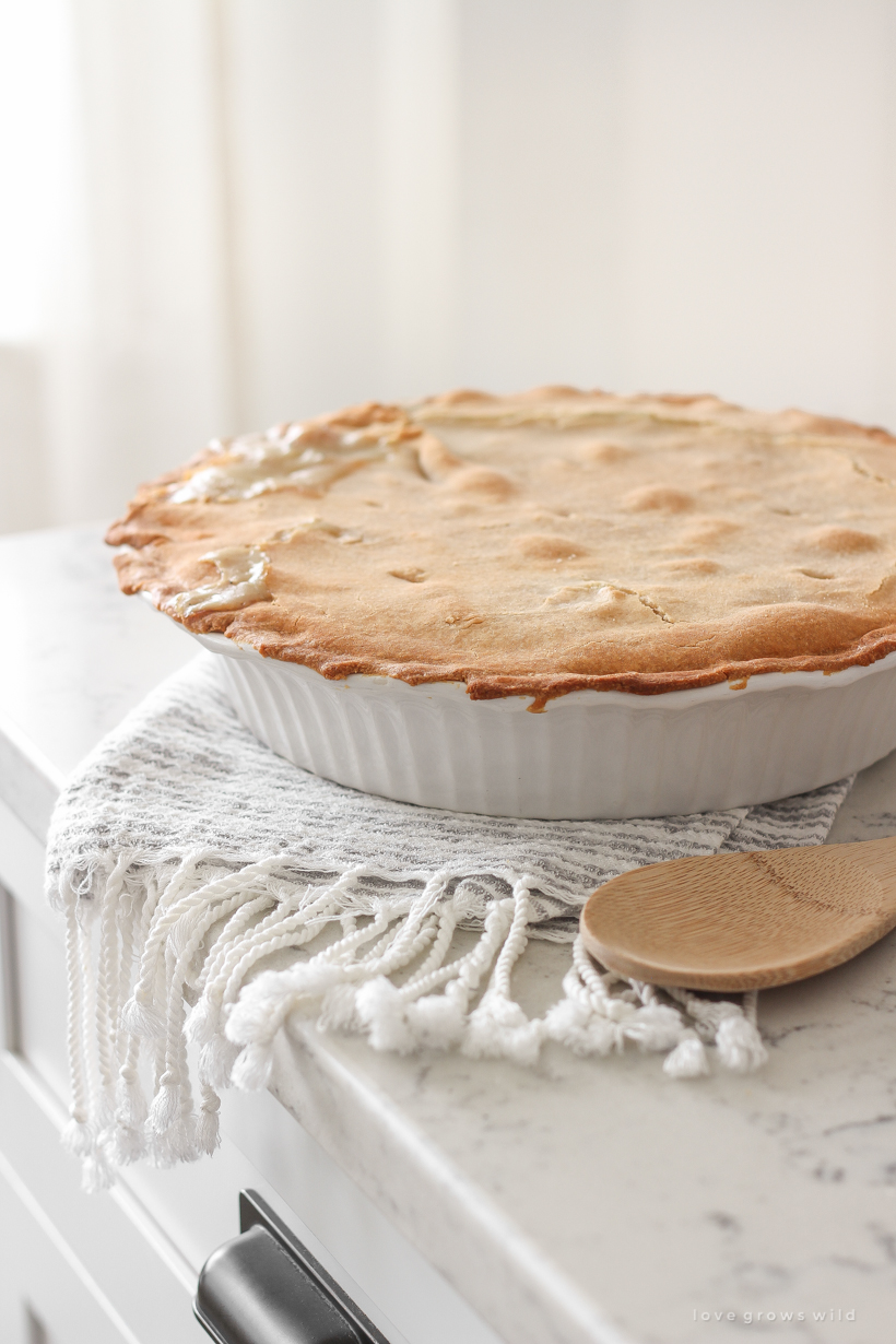Classic, easy chicken pot pie recipe from home blogger Liz Fourez