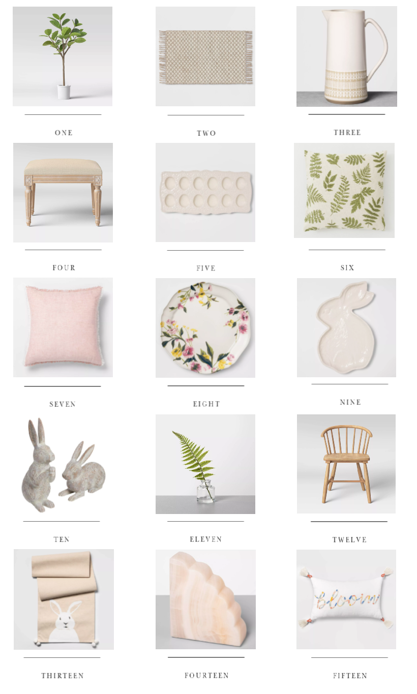 New spring decor finds to refresh any room in your home. Pillows, artwork, greenery, furniture, kitchen, bath + more!