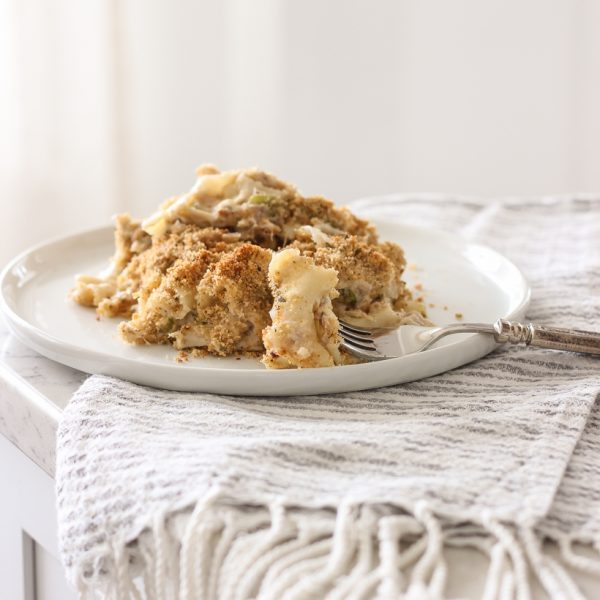 A delicious comfort food casserole from home blogger Liz Fourez of Love Grows Wild. Get the recipe for this easy Tuna or Chicken Noodle Casserole