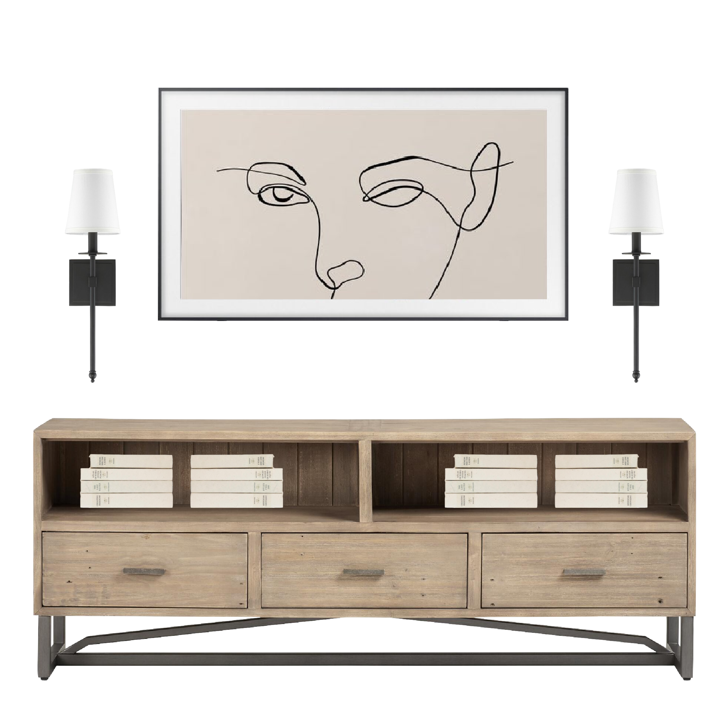 Easy ideas for decorating around a TV, including a huge list of my current favorite items for styling!
