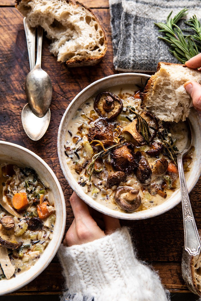 Creamy Wild Rice Chicken Soup with Roasted Mushrooms | LoveGrowsWild.com