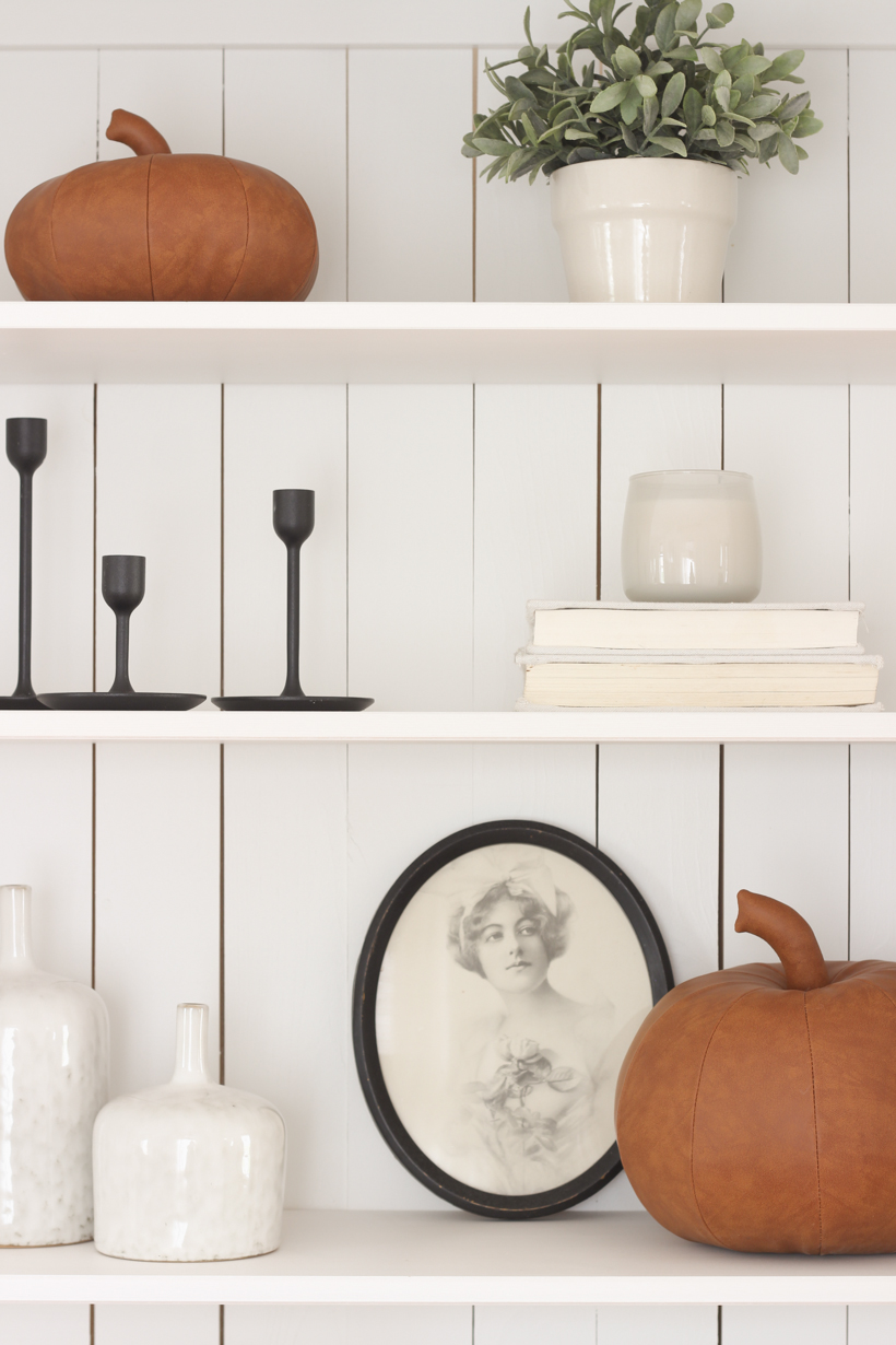 Home blogger and interior decorator Liz Fourez gives ideas for decorating your shelves for fall