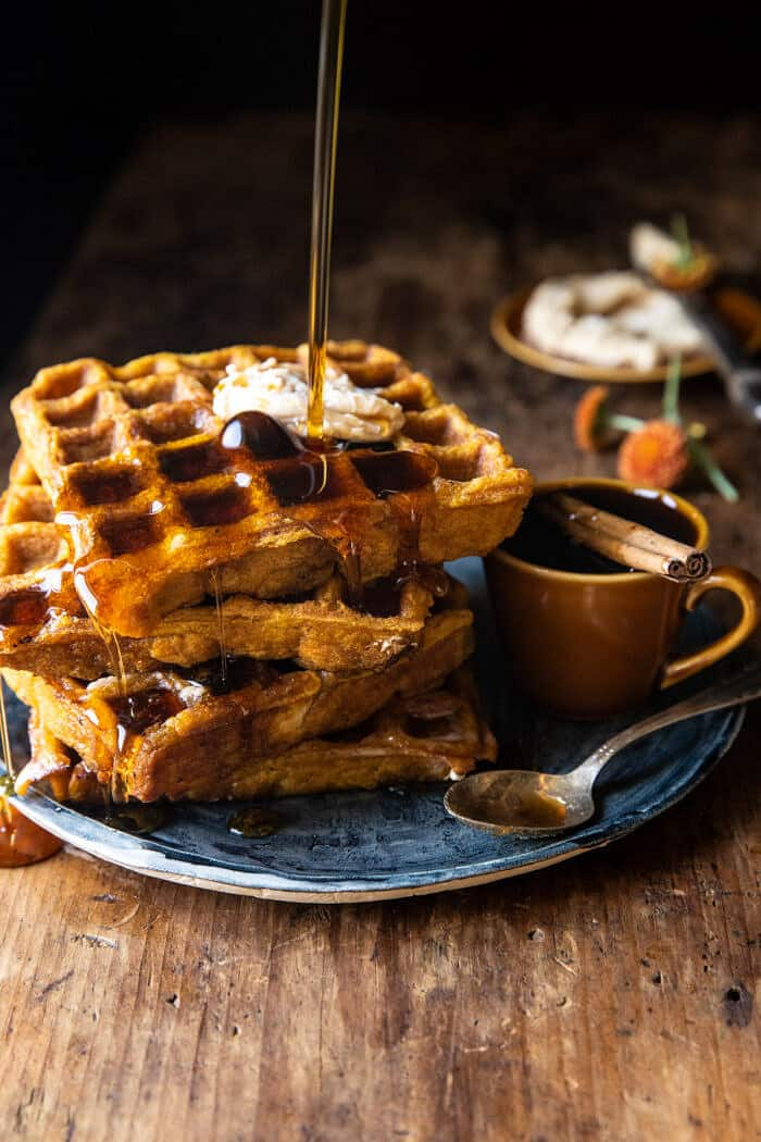 Cider Pumpkin Waffles with Salted Maple Butter
