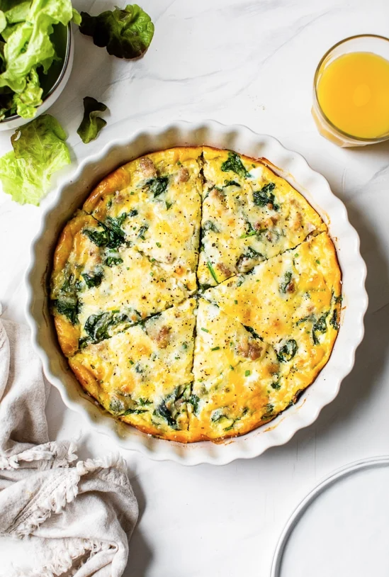 Crustless Sausage and Spinach Quiche Recipe