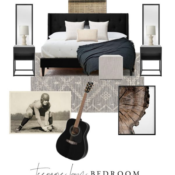 Interior decorator and blogger Liz Fourez shares the beginning stages and plans for her teenage son's bedroom makeover