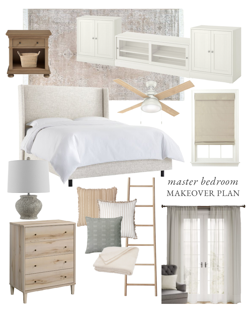 Home blogger and interior decorator Liz Fourez shares a beautiful neutral bedroom design and plans for her upcoming master bedroom makeover